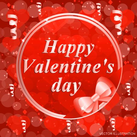 Happy valentines day greeting card. Brightly Colorful Illustration. Template for Valentines day.