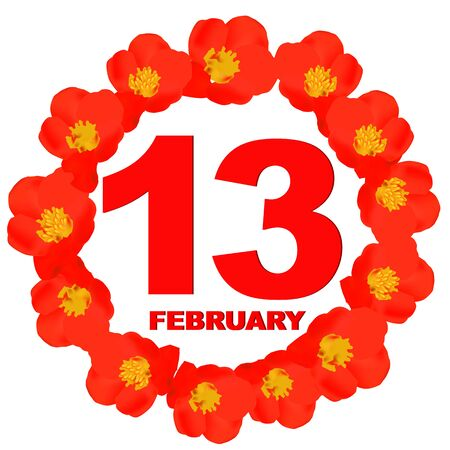 February 13 icon. For planning important day. Banner for holidays and special days with flowers.