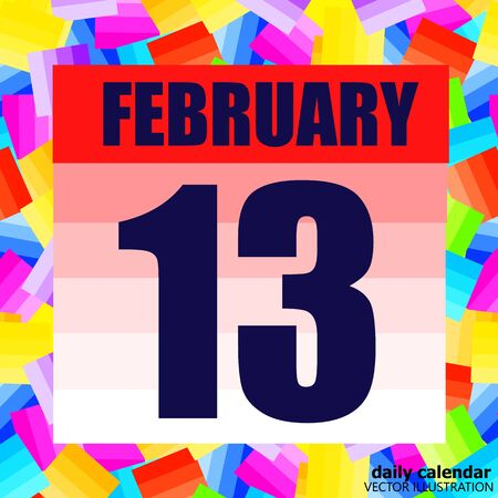 February 13 icon. For planning important day. Banner for holidays and special days. February 13th. Çizim