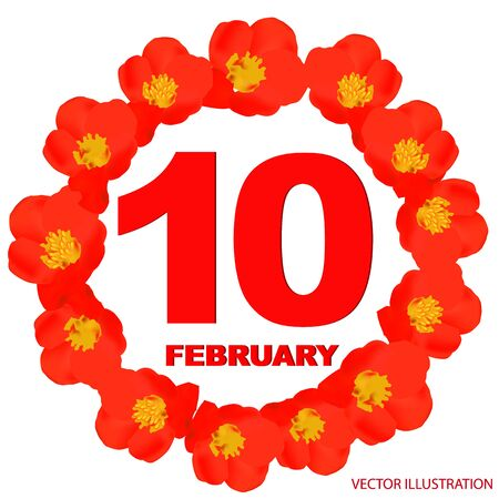 February 10 icon. For planning important day. Banner for holidays and special days. Illustration.