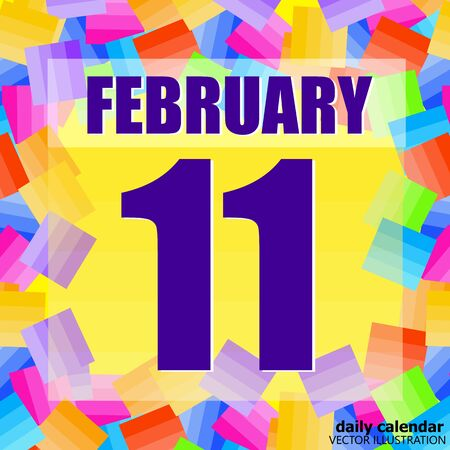 February 11 icon. For planning important day. Banner for holidays and special days. Illustration. Stok Fotoğraf