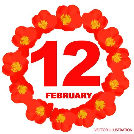 February 12 icon. For planning important day. Banner for holidays and special days with flowers.