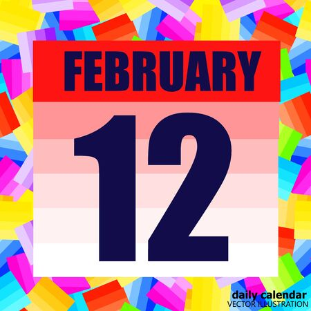February 12 icon. For planning important day. Banner for holidays and special days. February 12th.
