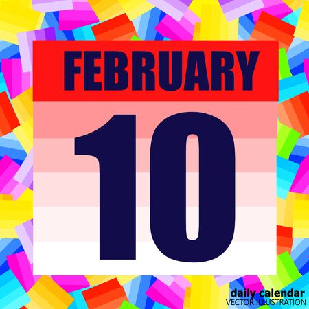 February 10 icon. For planning important day. Banner for holidays and special days. Tenth of February.