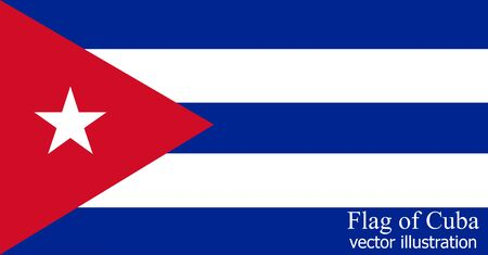 Happy Cuba day background. Bright background with flag of Cuba . Bright flag with folds. Vector. Ilustração