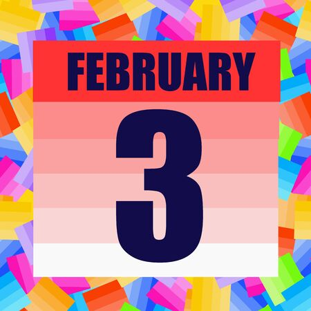 February 3 icon. For planning important day. Third of february. Banner for holidays and special days. Stok Fotoğraf