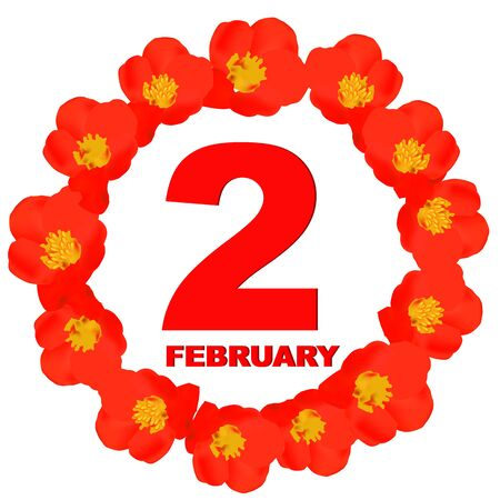 February 2 icon. For planning important day. Banner for holidays and special days.