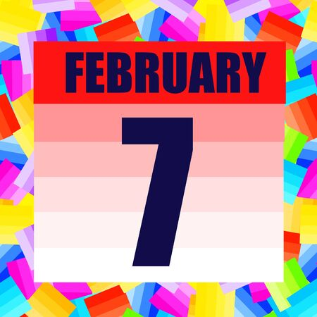 February 7 icon. For planning important day. Banner for holidays and special days. February 7th.