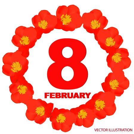 February 8 icon. For planning important day. Banner for holidays and special days. Çizim