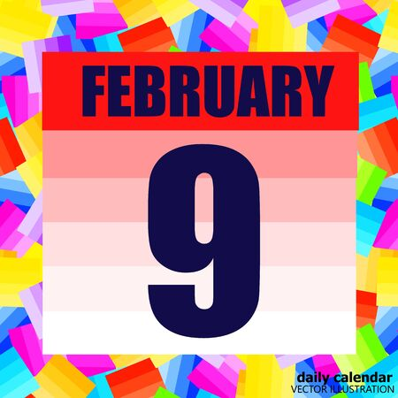 February 9 icon. For planning important day. Banner for holidays and special days. February ninth.
