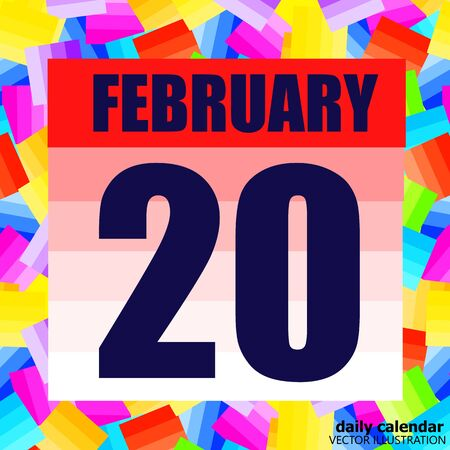 February 20 icon. For planning important day. Banner for holidays and special days. February 20th icon.