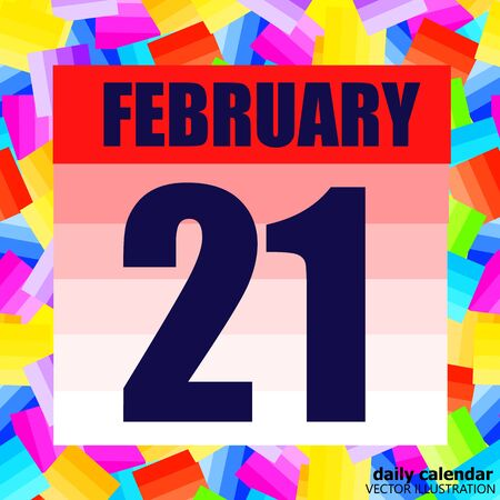 February 21 icon. For planning important day. Banner for holidays and special days. Twenty-first february icon.