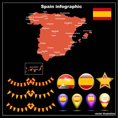 Map of Spain bright graphic illustration. Spanish map with major cities and regions.