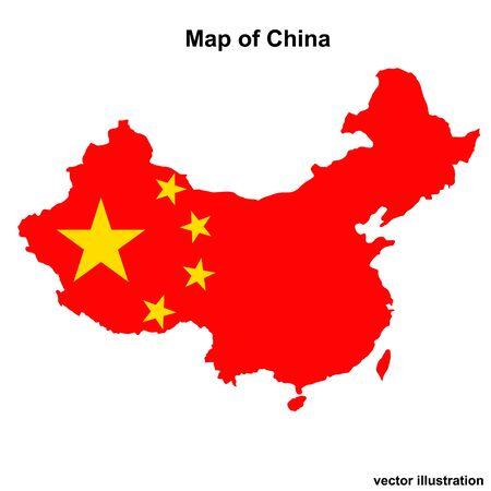 Carte lumineuse de la Chine. Carte de Chine illustration graphique sur fond blanc. .