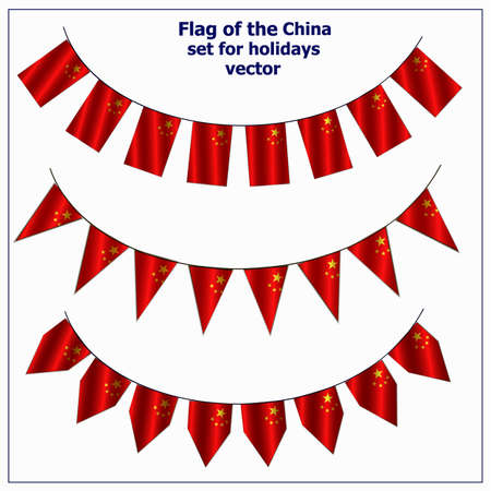 Bright set with flags China for holidays. Flags with folds. Vector illustration.