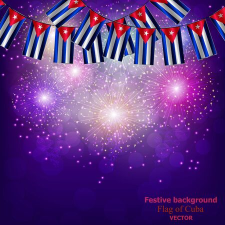 Bright firework with flags of Cuba for holidays. Background with flag of Cuba. Happy Cuba day background.