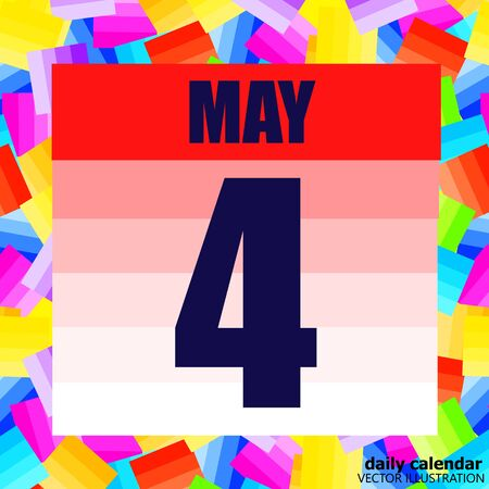 May 4 icon. For planning important day. Banner for holidays and special days. Fourth may vector illustration.  イラスト・ベクター素材