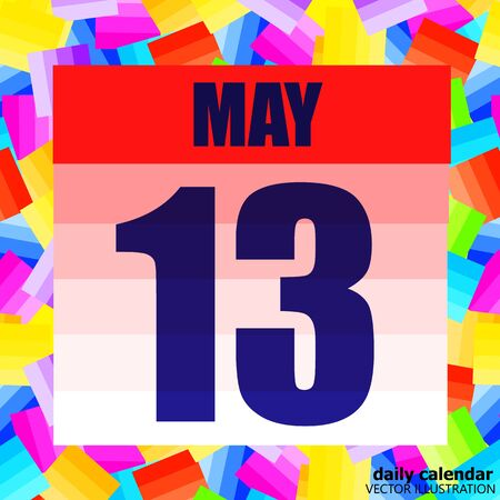 May 13 icon. For planning important day. Banner for holidays and special days. May 13th. Vector.