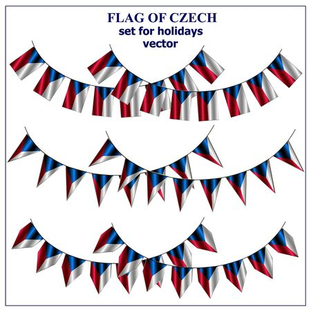 Set for holidays with flag of Czech. Happy Czech day background. Illustration.