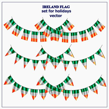 Bright set with flags of Ireland. Happy St. Patricks Day garlands. Bright illustration.