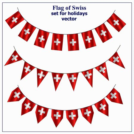 Bright set with flags of Swiss for holidays. Vector illustration with transparent background.