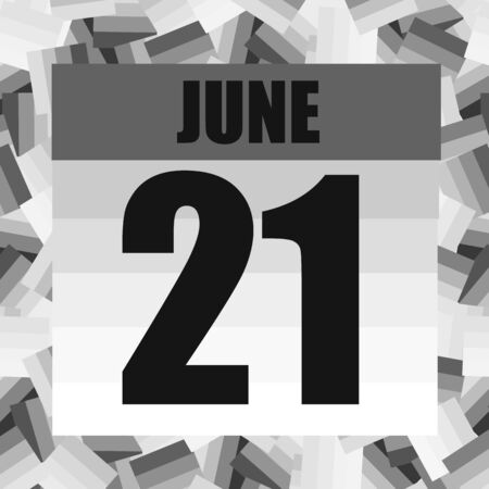 June 21 icon. For planning important day. Banner for holidays and special days. Twenty first of June.