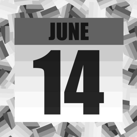 June 14 icon. For planning important day. Fourteenth june. Banner for holidays and special days.