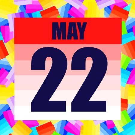 May 22 icon. For planning important day. Banner for holidays and special days. Twenty second of May. Illustration.