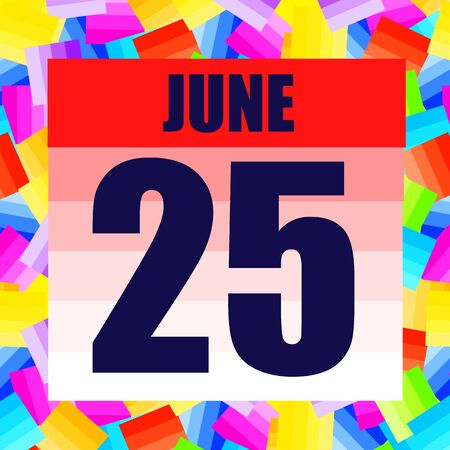 June 25 icon. For planning important day. Banner for holidays and special days. June twenty fifth.