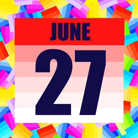 June 27 icon. For planning important day. Banner for holidays and special days. June 27th.