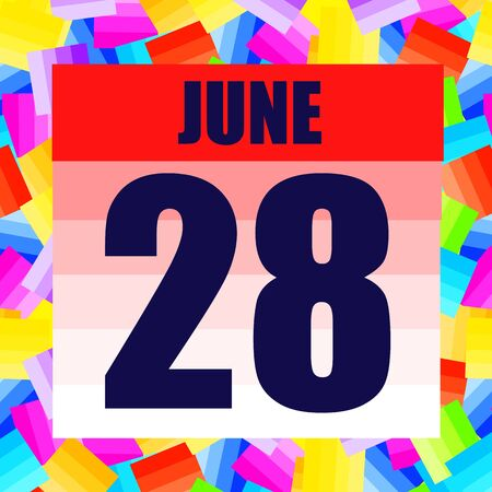 June 28 icon. For planning important day. Banner for holidays and special days. June 28th.