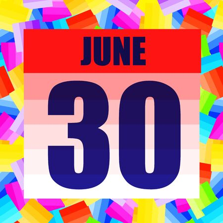 June 30 icon. For planning important day. Banner for holidays and special days. June thirtieth. Stok Fotoğraf