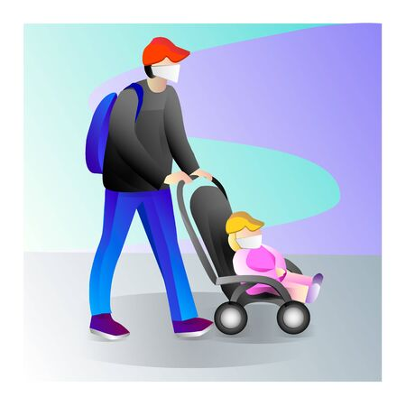 Father with a child on a walk. Family with baby walking in outdoor. Father with a baby in a stroller. Vector illustration Illusztráció