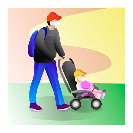 Father with a child on a walk. Family with baby walking in outdoor. Father with a baby in a stroller. Illustration Stock fotó