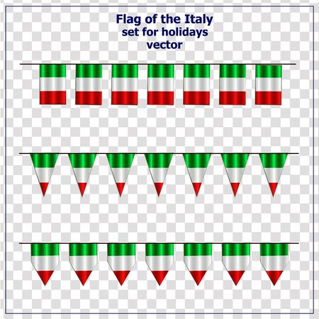 Bright set with flags of Italy for holidays. Italian republic flags.