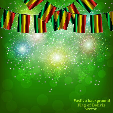 Bright backdrop with flags of Bolivia. Happy Bolivia day collection. Bright vector background.
