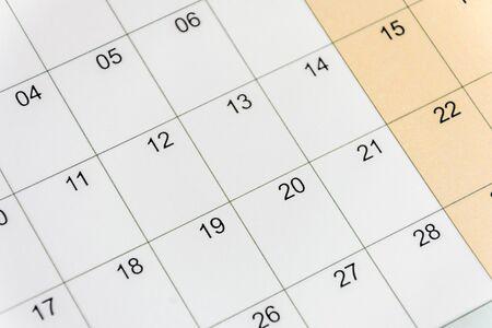 Kalender mit Zahlennahaufnahme. Modell für Design.
