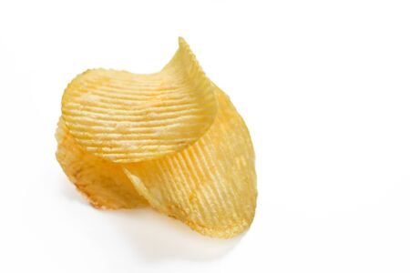 Ribbed potato chips collection isolated on white background. Potato chips, unhealthy eatting.