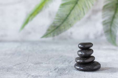 Black zen stones in a stack on grey concrete background with palm leaf. Meditation stone background. Relaxation balance or spa treatment concept.