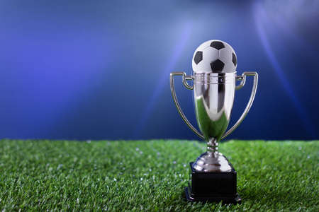 Soccer championship silver cup on a grass over blue background. Football winner background.