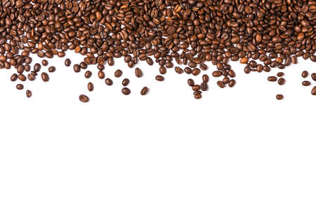 Roasted coffee beans isolated on white background. Frame with coffee beans.
