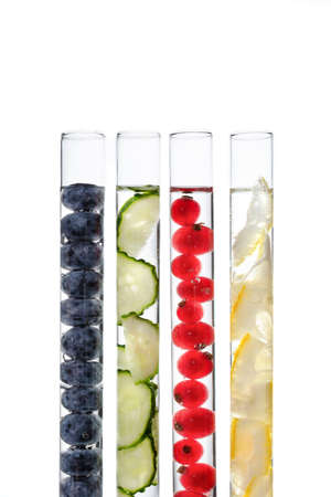 Test tubes with ingredients for organic natural cosmetics. Alternative medicine or natural skin care products concept. Stock fotó