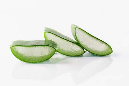 Aloe vera plant slices isolated on white background. Aloe vera for natural cosmetics and alternative medicine.