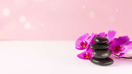 Orchid flower and black pebble spa stones over pink background. Beauty spa banner.