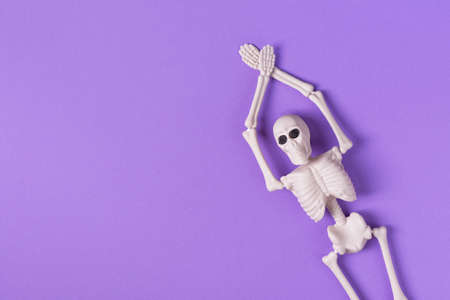 Halloween background with human skeleton on purple background top view. Halloween greeting card.