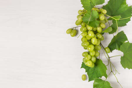 Bunch of ripe green grape with leaves on white wooden background top view. Grape fruit background with copy space for design.