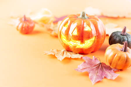 Halloween pumpkin lantern and autumn dry leaves on orange background. Halloween and autumn background.