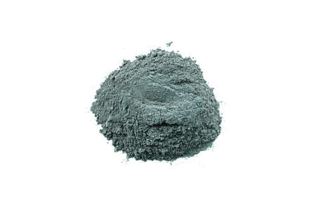 Dry blue cosmetic clay isolated on white background. Heap of organic blue cosmetic clay.