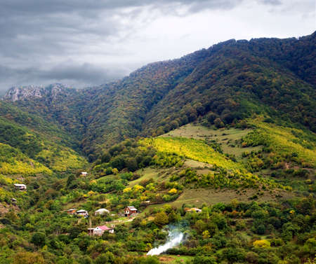 Armenian village in the mountains in autumn