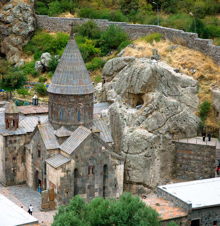 GEGARD, ARMENIA, 22 SEPTEMBER, 2018 Tourists visiting the monastery complex